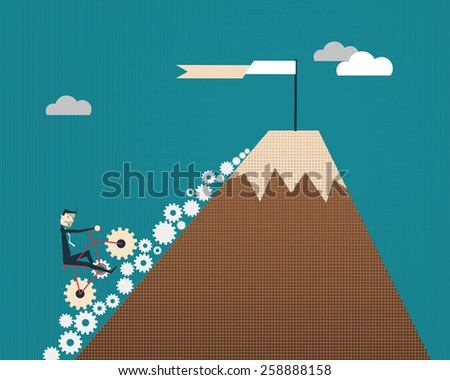 Businessman riding bicycle with gears go to flag at top of the hill.success business concept  - stock vector