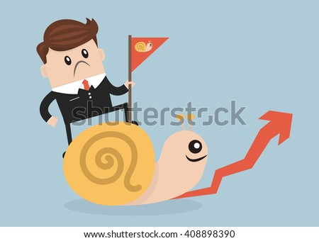 Businessman riding Snail slowly walk on arrow growth - stock vector