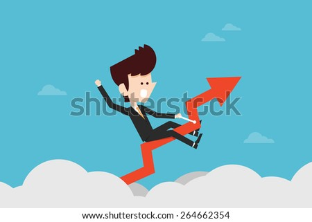 Businessman riding success arrow graph - stock vector