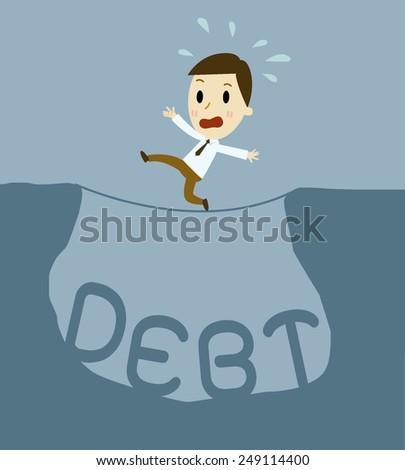 Businessman risks in debt.cartoon vector illustration  - stock vector