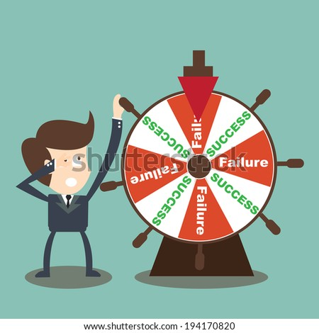 Businessman rotate success failure in wheel of fortune  - stock vector