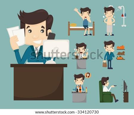 Businessman routine , eps10 vector format - stock vector