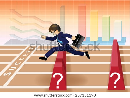 Businessman run and jump over obstacles to success line - stock vector