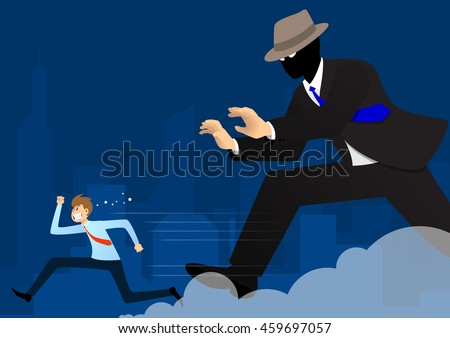 Businessman run away from big mysterious giant suite guy with blue city background. Business concept illustration.
