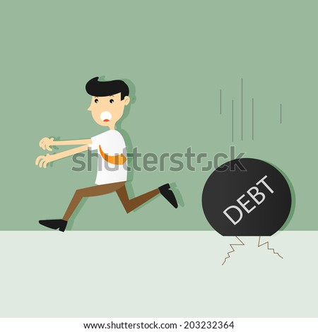 businessman run away from heavy debt,vector,illustration. - stock vector