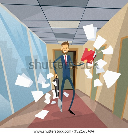 Businessman Run From Office Document Papers Fly Around Concept Flat Vector Illustration - stock vector