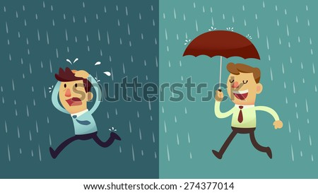 businessman run from the rain while another businessman has the umbrella