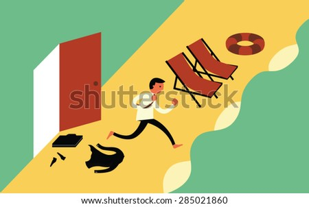 Businessman run to the beach. relaxing - stock vector