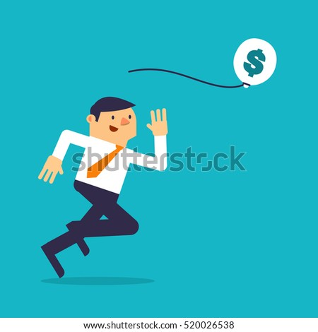 Businessman running after balloon.