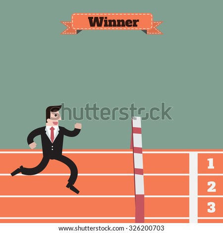 businessman running and  jumping obstacle