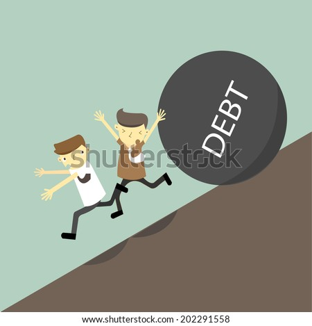 Businessman running away from heavy things with message 'debt' that is rolling down to them.Vector,illustrator - stock vector
