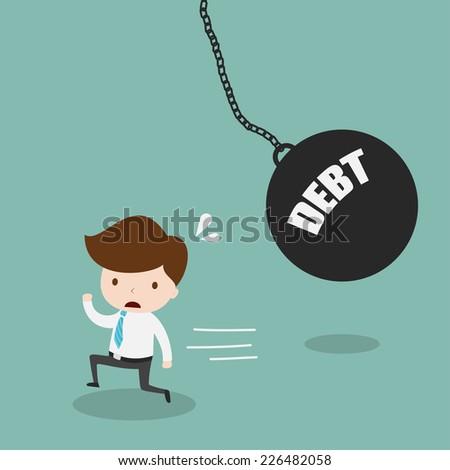 Businessman running away from huge pendulum with message debt,Vector EPS10. - stock vector