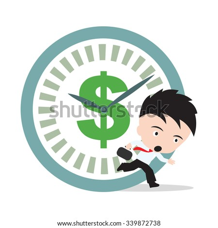 Businessman running, hurry up for working with dollar sign and clock rush hour, on white background - stock vector