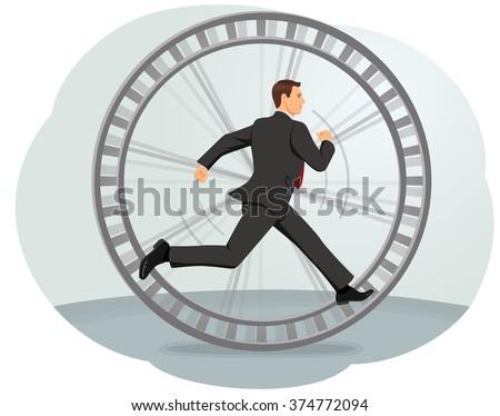 Businessman running in a hamster wheel. Inefficient work. - stock vector