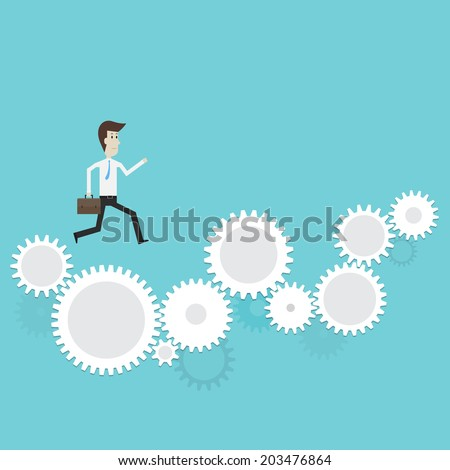 Businessman running on gear to success- Vector