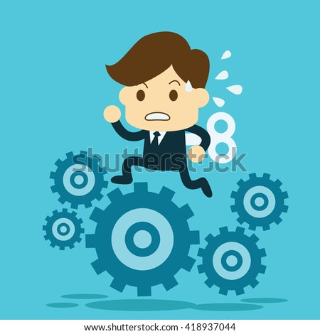 businessman running on gears.business concept. - stock vector