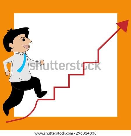 businessman running on the stairs, arrow level increases. vector