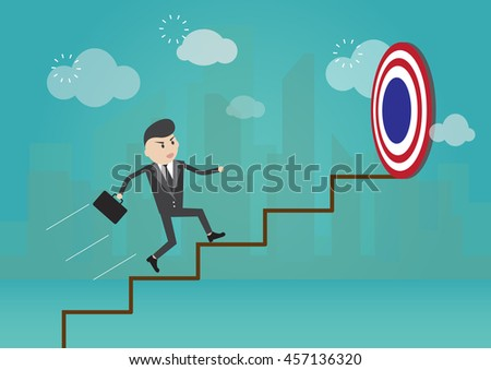 Businessman running on the stairs to the target
