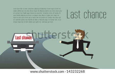 Businessman running to last chance for competition - stock vector