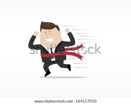 Businessman running to the finish line - stock vector