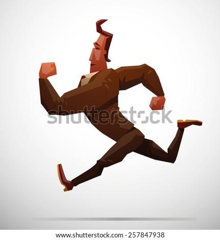 Businessman running, vector - stock vector