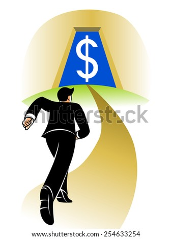 Businessman runs on the long road to the big money. - stock vector