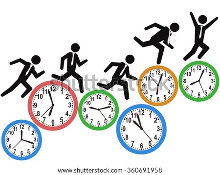 businessman runs on time clocks - stock vector
