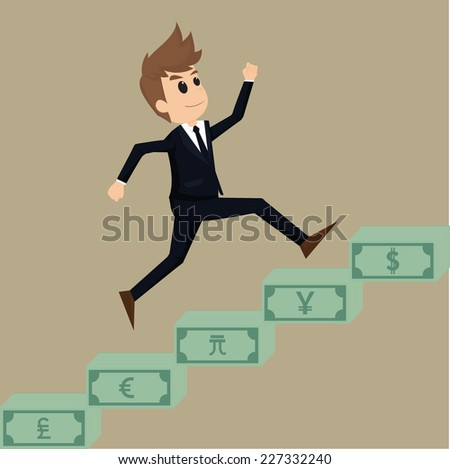 Businessman runs up a stairway money.vector - stock vector