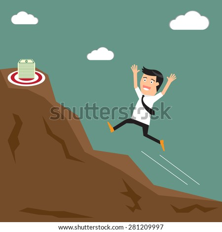 Businessman runs up the hill towards the target (money). vector illustration.
