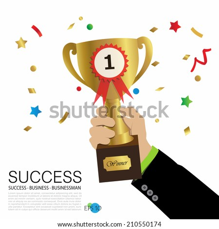 businessman's hand holding trophy with background of exploding party popper, victory, winner, champion, success, vector illustration - stock vector