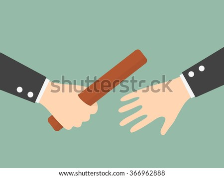 Businessman's Hand Passing a Relay Baton. Partnership or Teamwork Concept. Business Concept Cartoon Illustration.