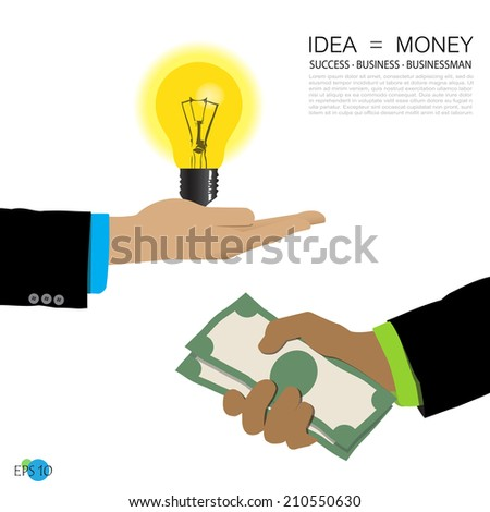 businessman's hands, glowing lamp, money, idea, concept design, vector illustration - stock vector