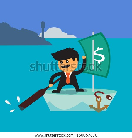 Businessman sailing boat with dollar bill  canvas a vector concept - stock vector