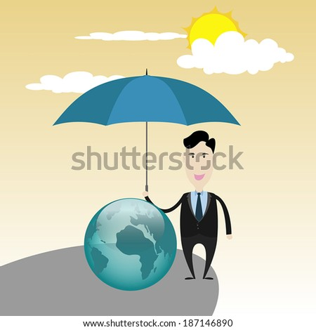 Businessman save the world concept. - stock vector