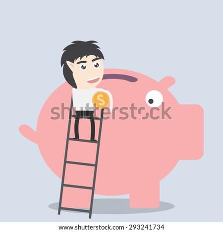 Businessman saves money in Piggy bank - stock vector