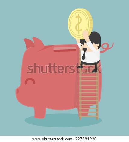 Businessman saving money - stock vector
