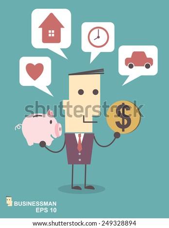 Businessman saving money in a piggy bank on blue background illustration vector file eps 10 - stock vector