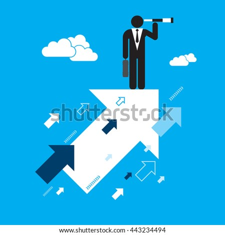 Businessman searching for opportunities of growth. Business concept in vector illustration.