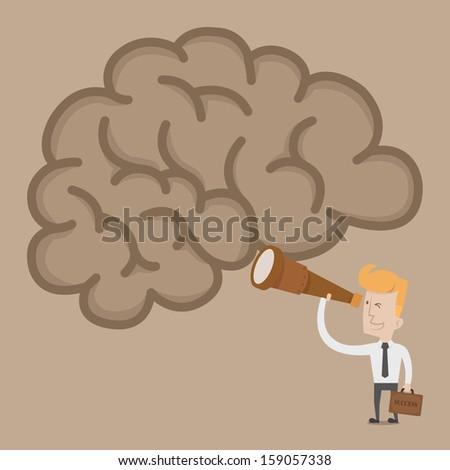 Businessman searching idea brain , eps10 vector format - stock vector