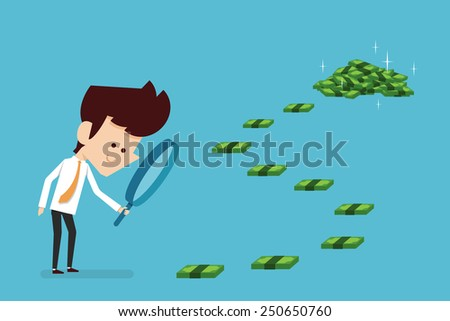 Businessman searching money flat design, vector. - stock vector