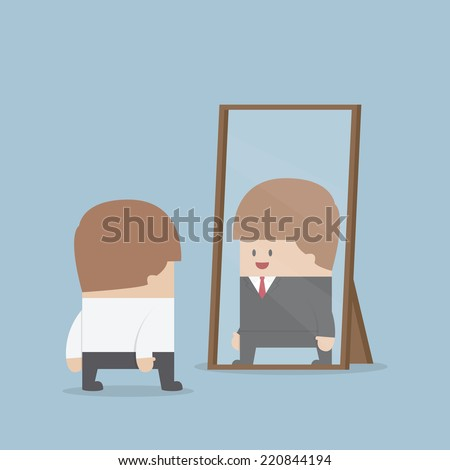 Businessman see his successful future in the mirror, VECTOR, EPS10 - stock vector