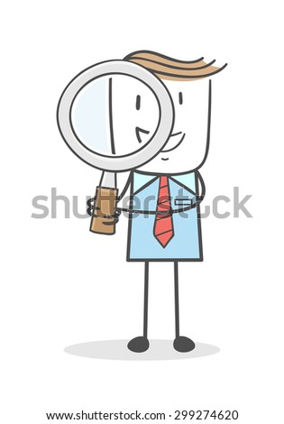 Businessman see something with a magnifying glass - stock vector