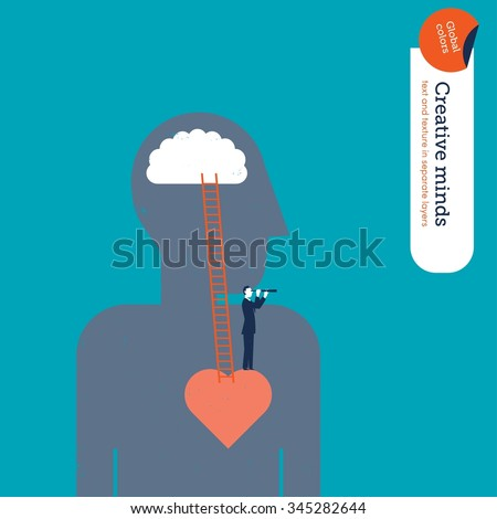 Businessman seeing something from an emotional perspective. Vector illustration Eps10 file. Global colors. Text and Texture in separate layers. - stock vector