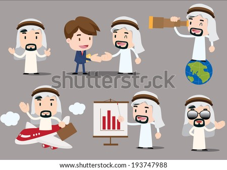 businessman series - arab - stock vector