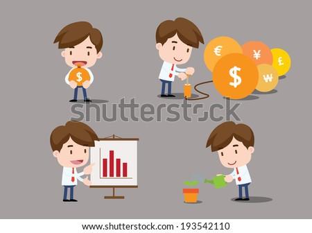 Businessman series - finance - stock vector