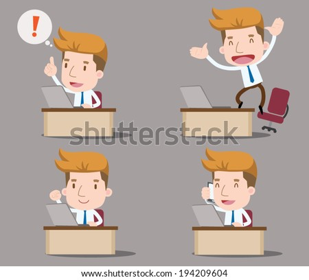 Businessman series - office and desk set - stock vector