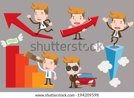 Businessman series - success set - stock vector