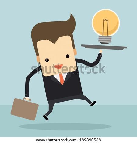businessman serve an idea on holding tray vector - stock vector