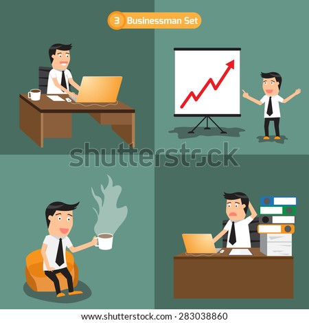 businessman set: business man working with hard working. vector illustration.