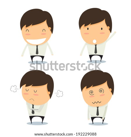 Businessman set of characters emoticons cartoon. Vector illustration. - stock vector